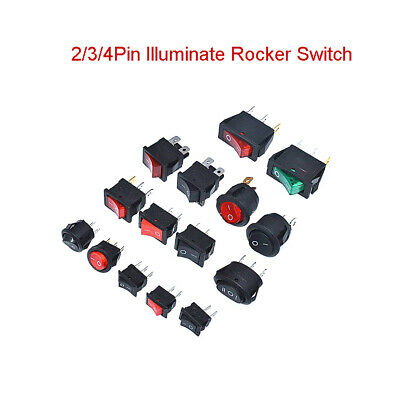 2/3/4Pin Boat Switch Round Square 3A/10A/250V Red Green Illuminate Rocker Switch
