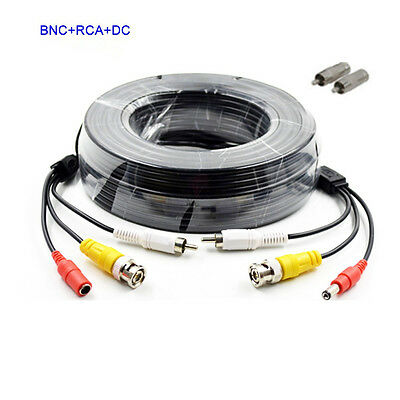 16X 100ft Security Camera Audio Video Power Cable CCD BNC RCA CCTV DVR Wire Cord
