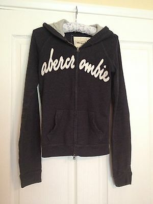 Genuine Abercrombie Hoodie Kids size L 32' Navy White Writing On Front.