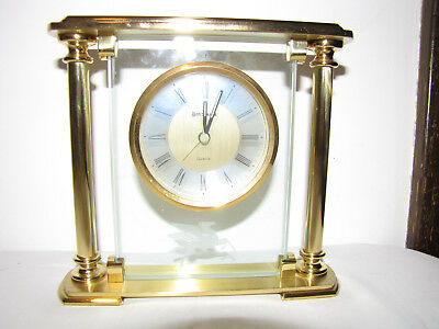 Benchmark Quartz Mantle Clock With Etched In Glass Flying Mobil Gas/Oil Pegasus