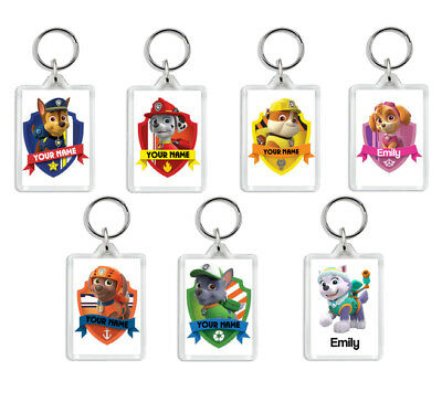 Personalised Custom School PAW PATROL Keyring Coat/Bag Tag - Kids/Child