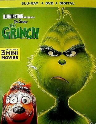 Dr. Seuss' THE GRINCH 2019 Blu-Ray + DVD + Digital New Slipcover