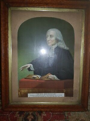 antique georgian birds eye maple frame with print of Rev  John Wesley