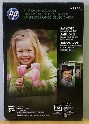 HP Everyday Photo Paper 53 lb. glossy finish 100 sheets 4 x 6 inch Inkjet NEW