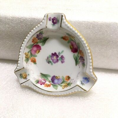 "Schumann Germany EMPRESS DRESDEN FLOWERS Triangle 3"" Ashtray *FAST SHIP!* Purple"