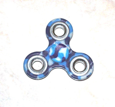 3D Fidget Finger Hand Tri-Spinner EDC Ceramic Bearing Toy-Blue Painting AU Stock