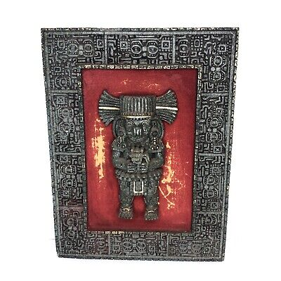 Crushed Malachite Sculpture Picture Frame Mayan Aztec Mexican Vintage Wall Art