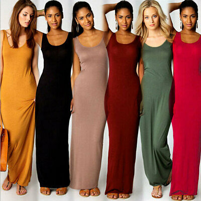 23d5ff7cd4 Women Ladies Long Summer Holiday Vest Racer Muscle Back Maxi Dress Plus  Size8-26