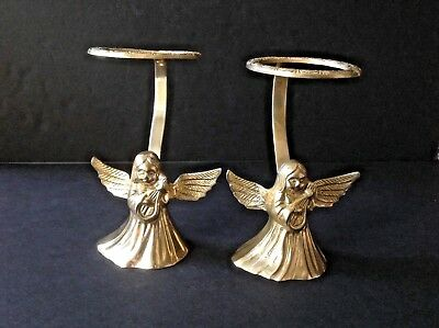 Set of 2 Vintage Solid Brass Angel Cherub Candle Vase, Egg, Orb, 6''Tall Holders