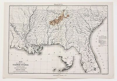Map Of Georgia Florida And Alabama.Original 1876 Mitchell Map Of Georgia Mississippi Tennessee