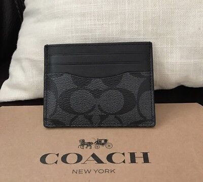 NWT Coach ID Card Case Signature Black F58110 With Gift Box