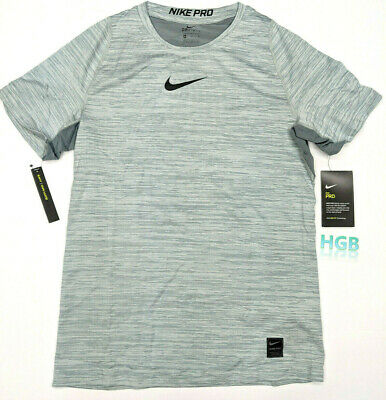 low priced e749d eeb15 Nike Pro Cool Dri-Fit Heathered Tee Shirt Boys Grey Youth Gym AJ0641-065