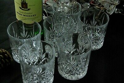 Set Of 6 Cut Glass Whiskey Tumbler Glasses Alcoholic Or Non Alcoholic Tableware