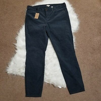 New Women's J. Crew Gray Corduroy Skinny Straight Leg Ankle Pants NWT Size 30