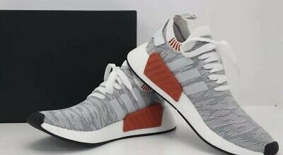4bc2b43c5 New adidas Men s Sneakers Size 9 NMD R2 PK With Box BY9410 Primeknit Gray  White