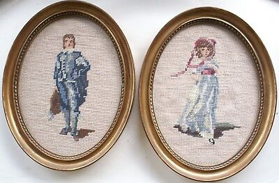 Pair of Framed Needlepoint Pieces Depicting Blue Boy and Pinkie