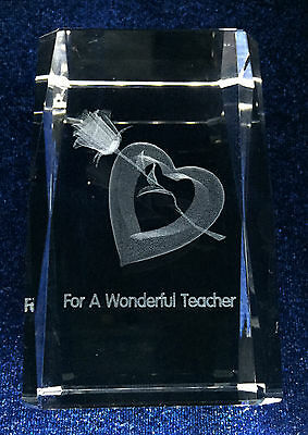 Crystal with 3D Image of Rose & Heart for teacher - Ideal Gift
