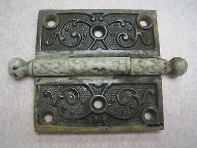 Antique Ornate Victorian Eastlake Door Hinge single 3 1/2 x 3 1/2 cannon ball
