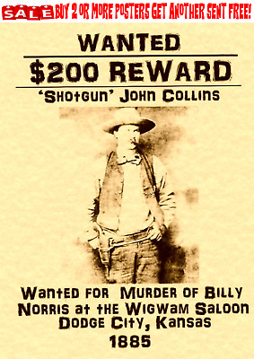 Old West Wanted Poster Western Outlaw Shotgun. Reward