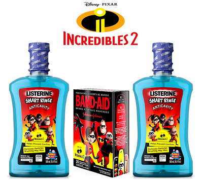 (2) Listerine Smart Rinse Featuring INCREDIBLES 2 + (1) BAND-AID Bandages *NEW**