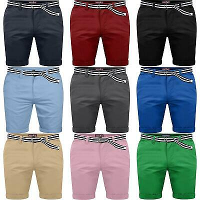 Mens Chino Belted Shorts Cargo Combat Fine Twill Pants Cotton Stretch Half Pant