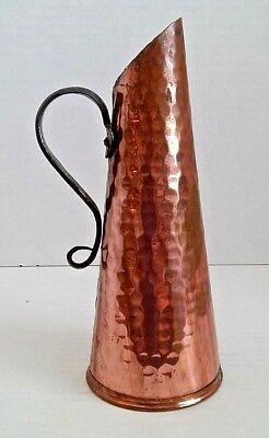 Vintage Bo Svensk produkt hammered copper pitcher w/ handle Sweden water jug