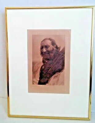 Edward Curtis photogravure of Crow Dog Brule' Indian sub chief 1907 framed Sioux