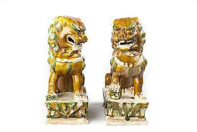 Antique Chinese Hand Carved Sancai Foo Dogs Temple Lions Statues