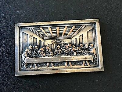 Antique small silver plated cast metal plaque depicting 'The last supper'.