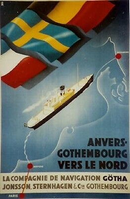 Original Plakat - Anvers-Gothembourg vers le Nord