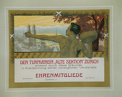 "Original Plakat - Der Turnverein ""Alte Sektion"" Zürich"