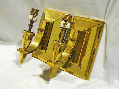Pair of VINTAGE HEAVY CAST BRASS WALL SCONCES - LIGHTS