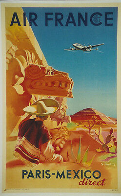 Original Plakat - Air France - Paris - Mexico
