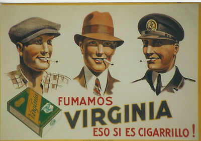 Original Plakat - Fumamos VIRGINIA eso si es Cigarrillo