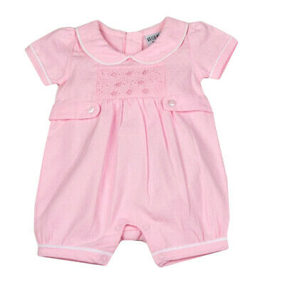 Baby Girls Adorable Spanish Style Traditional Pink Smocked Cotton Romper
