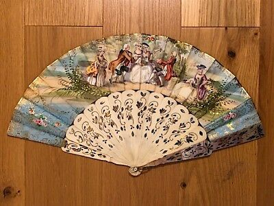 Antique 19C hand painted fan with bone and mother of pearl. Stunning quality.