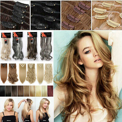 ON CLEARANCE 100% Real Thick Clip in as Human Hair Extensions Full Head UK FAST