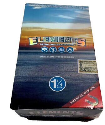 Elements 1.25 Rolling Paper - Ultra Thin Rice 1 1/4 - 25 Booklets Sealed Box
