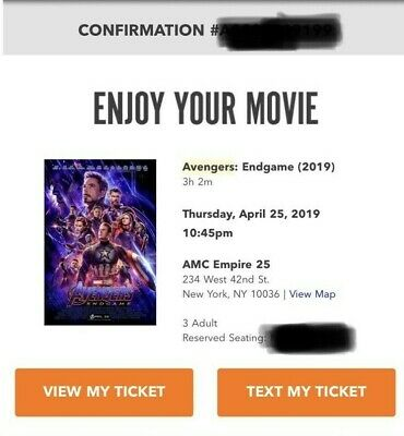 Marvel Avengers Endgame 3x MovieTickets 10:45PM Thurs April 25 AMC Empire 25 NYC