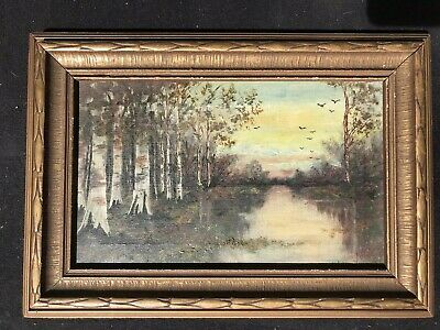Fine Old 19Th Century Landscape Oil Painting -Signed- Original Antique Frame