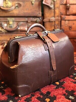 Antique Large Dark Brown Leather Dr Bag Medical Bag Apothecary Gladstone Bag USA