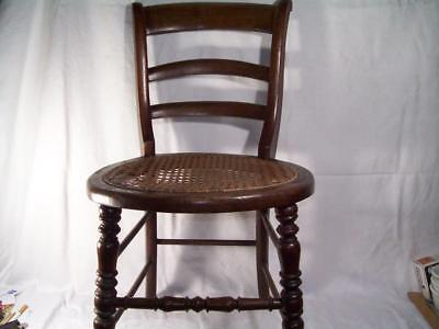 """Antique Oak Wood Childs Ladderback Chair Caned Seat Large Doll 27"""" Tall Turned"""