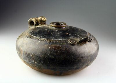 *SC* A KHMER / ANGKOR PERIOD POTTERY LIME POT w. OWL, 12th-13th cent AD!