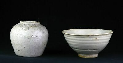 *SC* A PAIR OF THAI / SAWANKHALOK GLAZED POTTERY BOWL & JAR, 14th-16th cent AD!