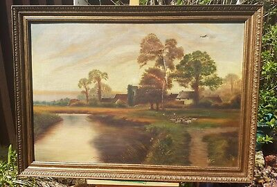 River Village Sheeps Scene Nice Vintage Oil Painting Signed E Dakin 1927 Damaged