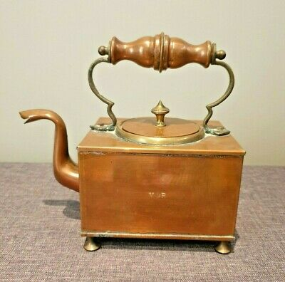 Antique Victorian Rectangular Copper Kettle with Brass Fixtures Stamped: VR