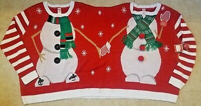 dde5485250fd HOLIDAY TIME DOUBLE Sweater Christmas Elf & Santa Ugly Two Person-L ...
