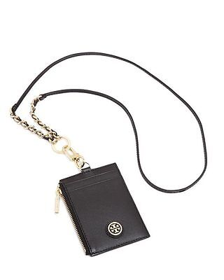 c6dd7a66d227 Nwt Tory Burch Robinson Lanyard Black Saffiano Leather Id credit Card Holder