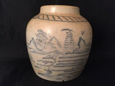 Vintage Antique Chinese Japanese Ginger Jar Country Scene Blue Hand Painting