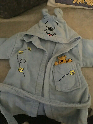 Winnie the pooh dressing gown baby boys 0-6months cute hooded bear style